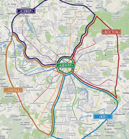 Схема деления Москвы по